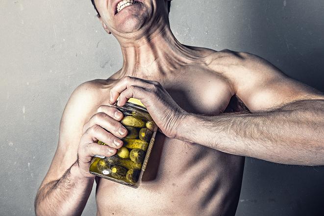 Man opening jar